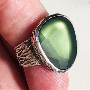 R1852 Size 9 SILPADA Sterling & Green Glass Ring